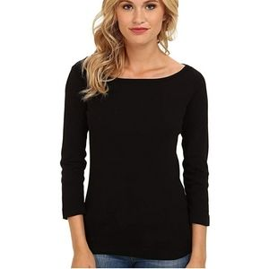 Three Dots Cotton Heritage Knit 3/4 Sleeve Top